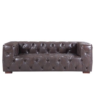 Hamlin Modern Tufted Genuine Leather Sofa by 17 Stories
