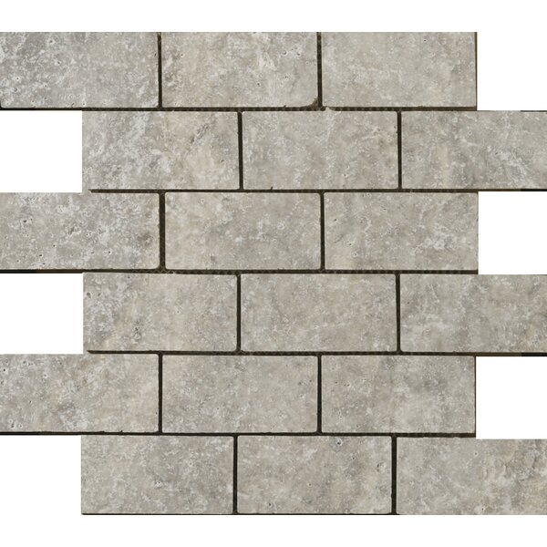 Travertine 1 x 2/12 x 12 Mosaic Tile in Ancient Tumbled Silver by Emser Tile