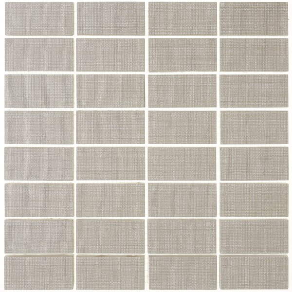 1 x 3 Ceramic Mosaic Tile in Modern Text Taupe by Itona Tile