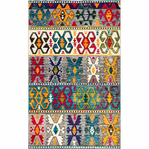 Elick Blue/Yellow/Pink Area Rug by Bungalow Rose