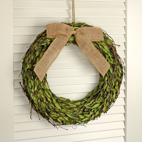 Chip Boxwood 16 Wood Wreath with Bow by Gracie Oaks