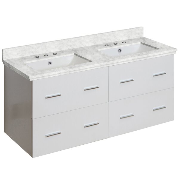 Phoebe Drilling Wall Mount 48 Rectangle Double Bathroom Vanity Set by Orren Ellis