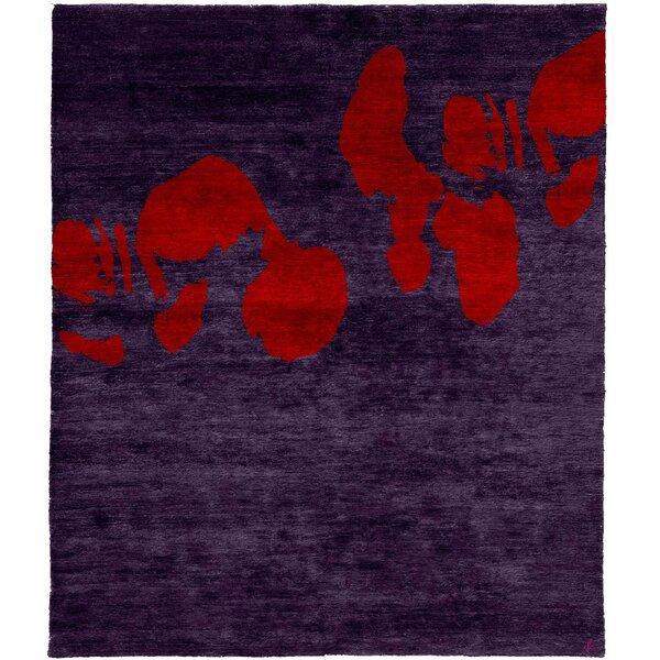 One-of-a-Kind Edwidge Hand-Knotted Tibetan Purple 8' Round Wool Area Rug