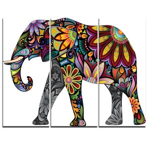Yellow Cheerful Elephant - 3 Piece Graphic Art on Wrapped Canvas Set by Design Art