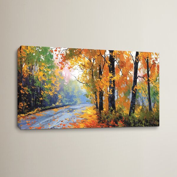 Autumn Backlight Painting Print on Wrapped Canvas by Red Barrel Studio