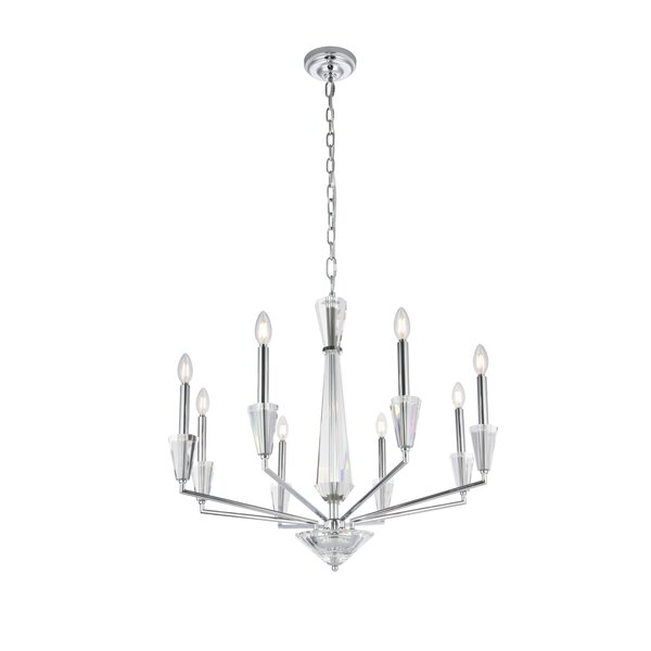 Philo 8 - Light Candle Style Classic / Traditional Chandelier With Crystal Accents By Mercer41