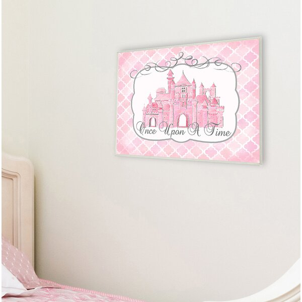 Once Upon a Time Pink Water Color Castle Canvas Wall Art by Stupell Industries