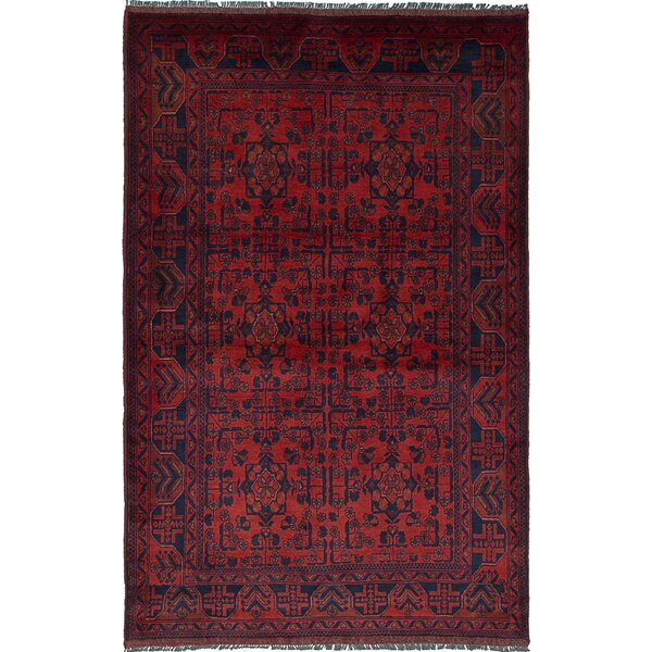 One-of-a-Kind Bouldercombe Hand-Knotted Rectangle Red Area Rug by World Menagerie