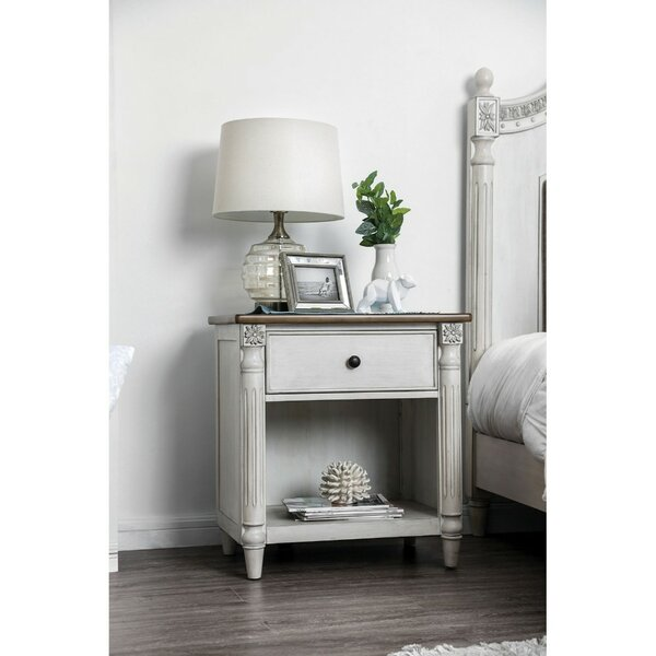 Victor Dual Tone Solid Wood 1 Drawer Nightstand by One Allium Way