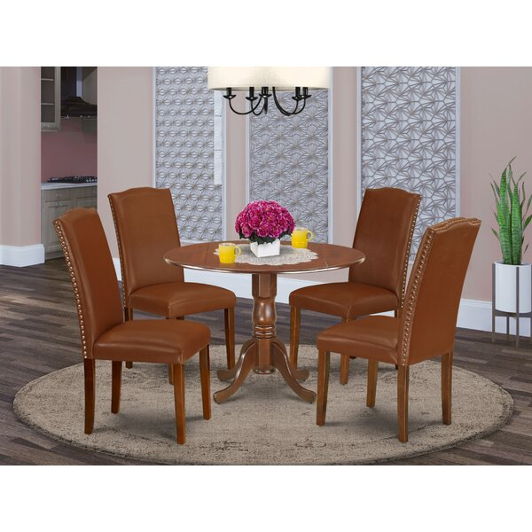 Schreiner 5 Piece Drop Leaf Solid Wood Dining Set by Charlton Home Charlton Home