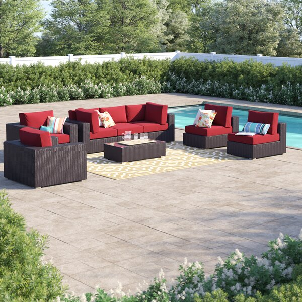 Brentwood 8 Piece Rattan Sectional Seating Group with Cushions
