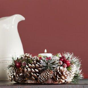 Pinecone Candle Wreath Centerpiece