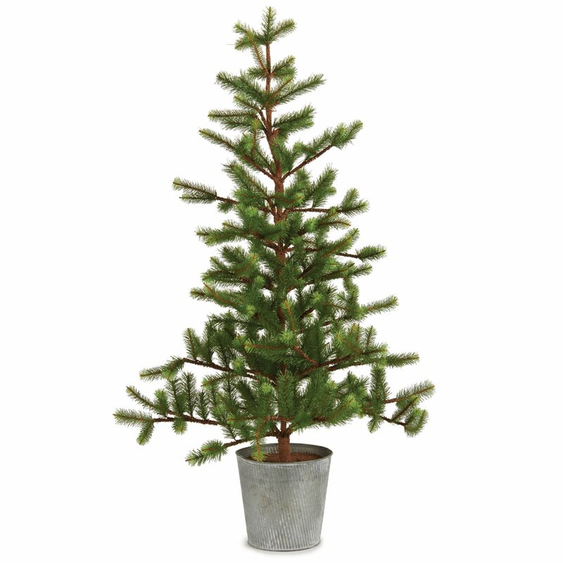 36 green fir trees artificial christmas tree in tin pot - Christmas Trees Artificial