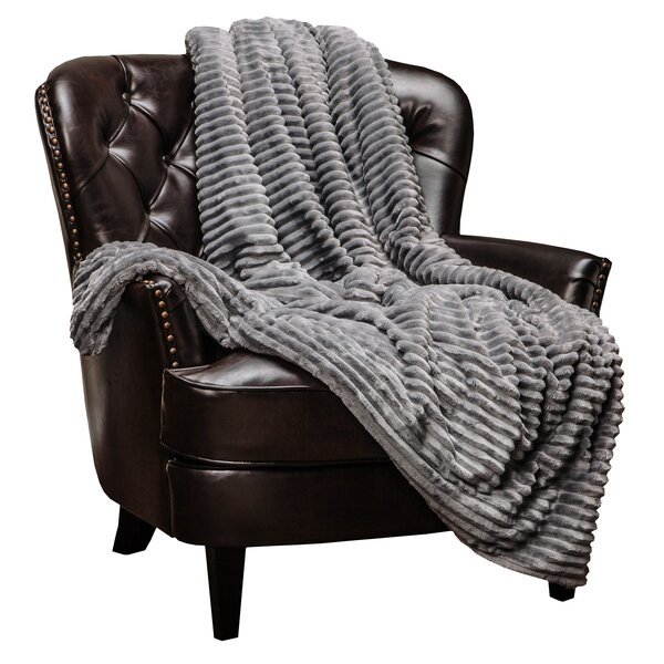 Jinny Super Soft Ultra Plush Solid Stripe Textured Sofa Couch Bed Throw by Red Barrel Studio