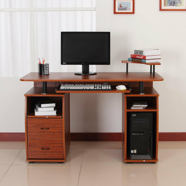 - Winston Porter Hilyard Wooden Study Computer Desk With Print Shelf