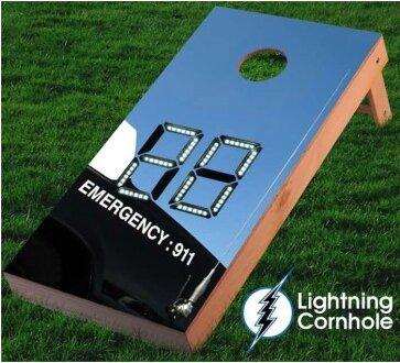 Electronic Scoring Police Car Cornhole Board by Lightning Cornhole