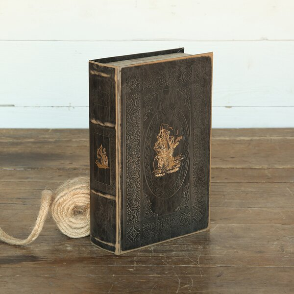 Dabney Faux Leather Embossed Book Decorative Box by Longshore Tides