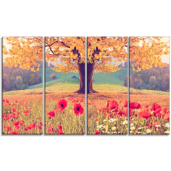 Landscape with Poppy Flowers 4 Piece Photographic Print on Wrapped Canvas Set by Design Art