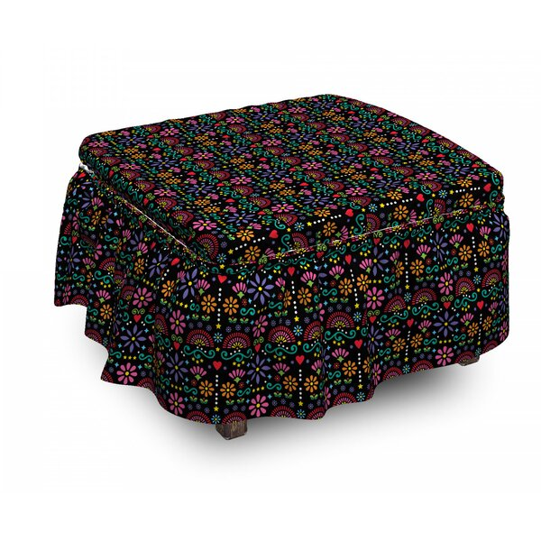 Traditional Flower Ottoman Slipcover (Set Of 2) By East Urban Home