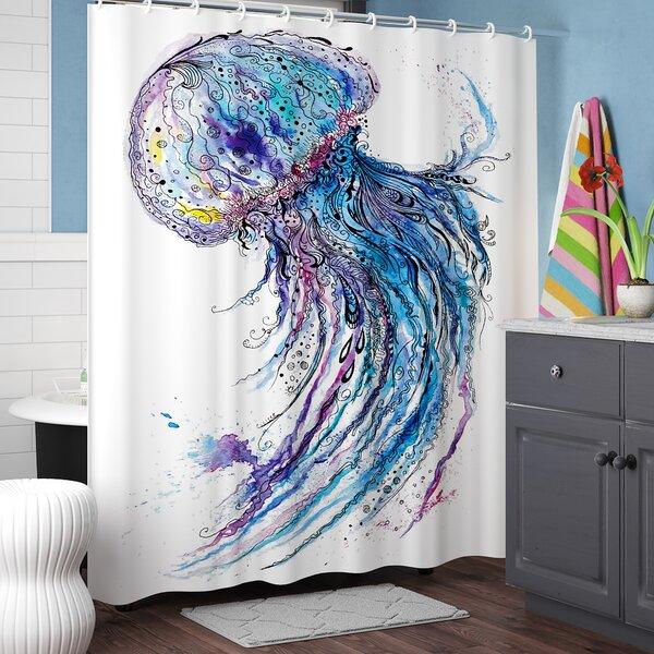 Calantha Aqua Colors Creative Shower Curtain by Ebern Designs