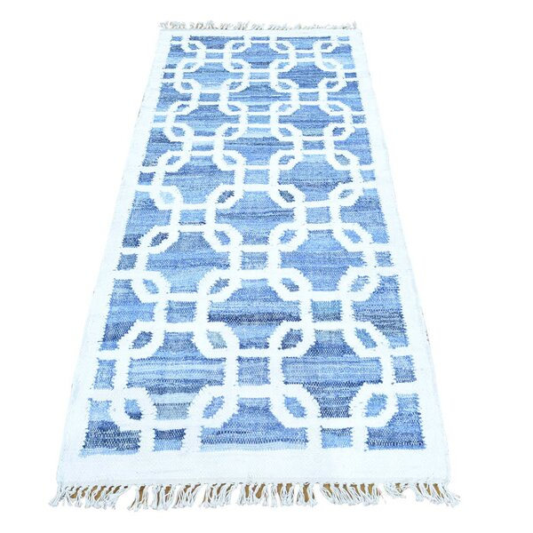 One-of-a-Kind Kilim Hand-Knotted Ivory/Blue Area Rug by Bungalow Rose