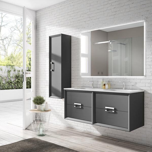 Aalaysia 63 Wall-Mounted Double Bathroom Vanity Set
