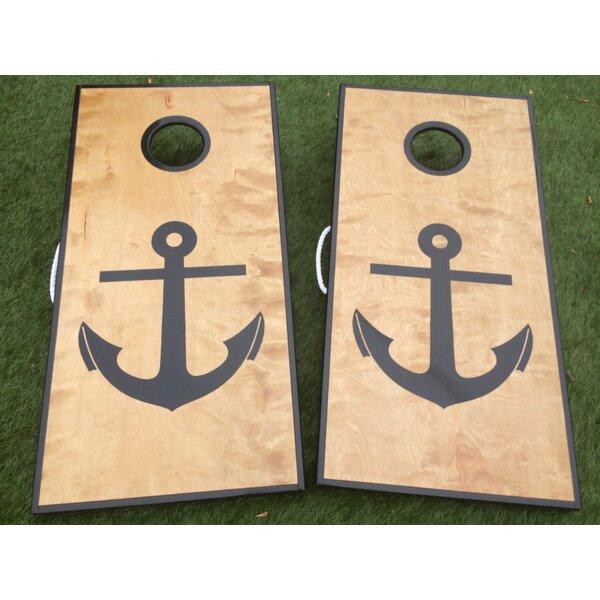 Nautical Anchor Cornhole Board with Toss Bags Set by West Georgia Cornhole