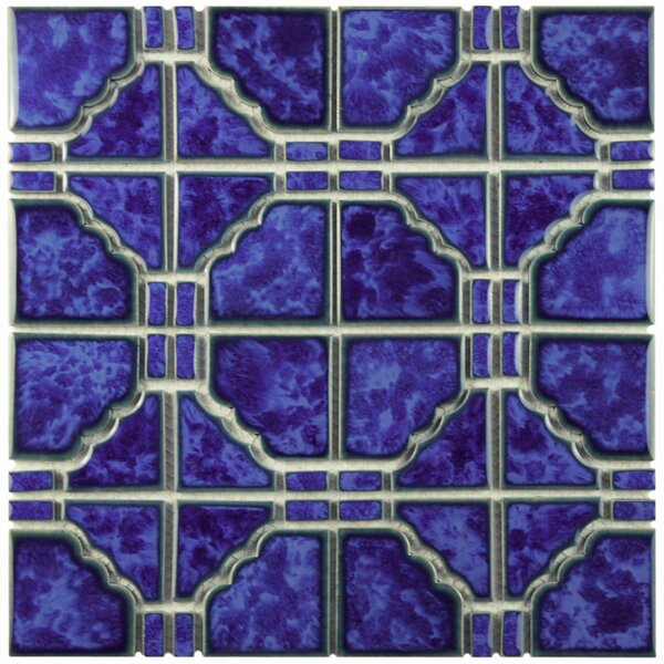 Kansai Random Sized Porcelain Mosaic Tile in Blue by EliteTile