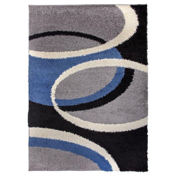 Samantha Cozy Shag Contemporary Geometric Circles Blue Area Rug by Ebern Designs