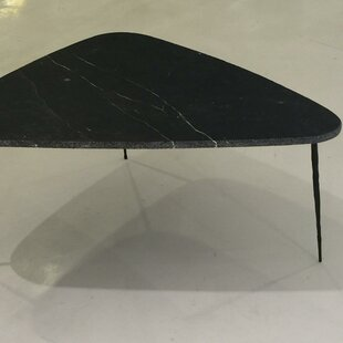 Athanas Small Coffee Table with Marble and Iron Legs Brayden Studio