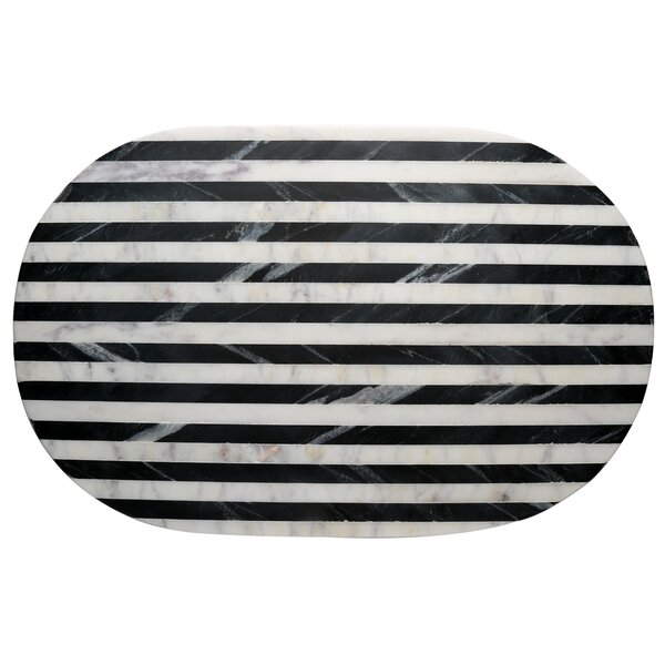 Jaiden Striped Marble Serving Tray by Langley Street
