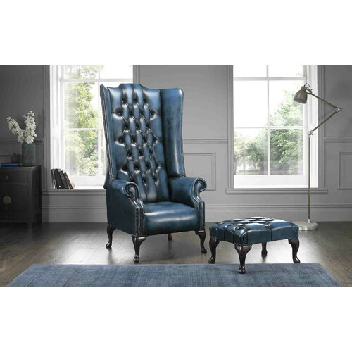 Colucci High Back Wing Chesterfield Chair and Footstool Asto