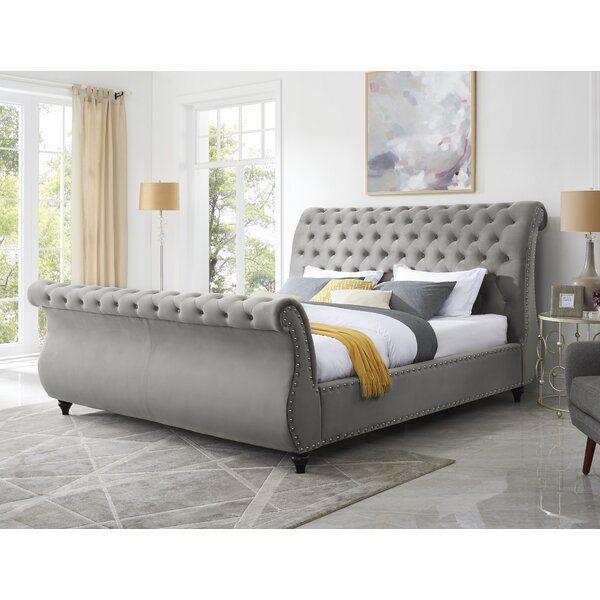 Matos Button Tufted Upholstered Sleigh Bed by Rosdorf Park