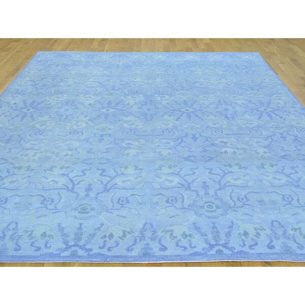 One-of-a-Kind Bean Hand-Knotted Blue Wool Area Rug by Isabelline
