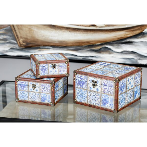 Causby Traditional Trunk Style Lattice Patterned 3 Piece Decorative Box Set with Lid by Bloomsbury Market