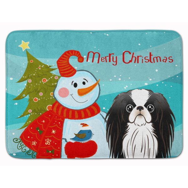 Snowman with Japanese Chin Memory Foam Bath Rug by The Holiday Aisle