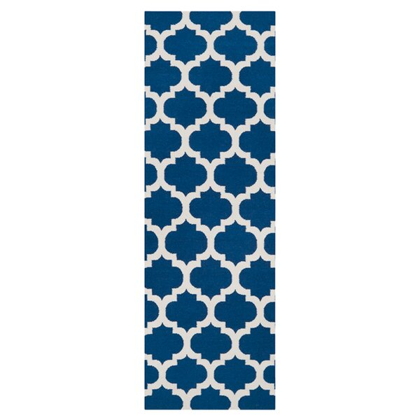 Hackbarth Hand-Woven Blue/Winter White Area Rug by Zoomie Kids
