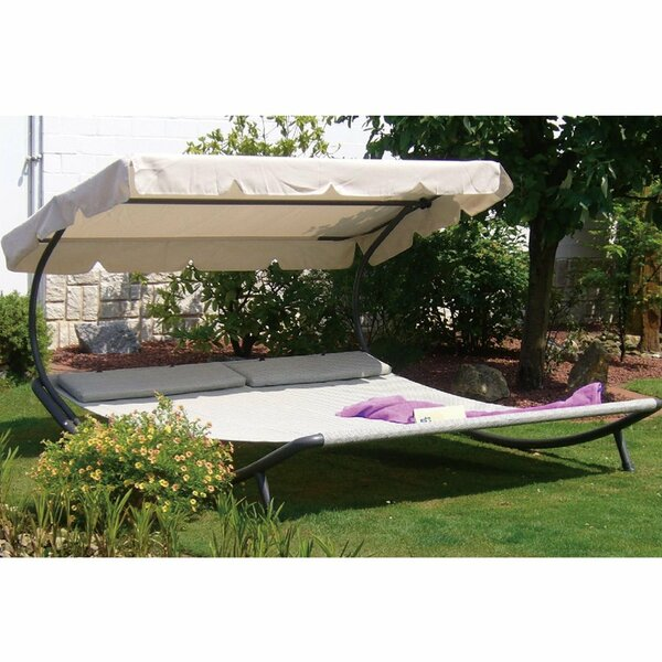 Outdoor Portable Double Chaise Lounge with Sun Shade and Wheels by Abba Patio