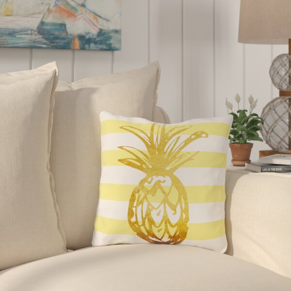 Palomar Stripes Pineapple Outdoor Throw Pillow by Bay Isle Home