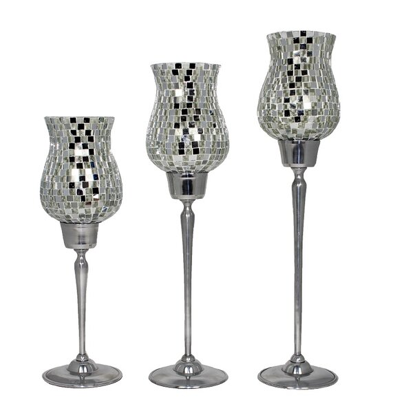 Mosaic 3 Piece Glass/Metal Hurricane Set (Set of 3) by Entrada