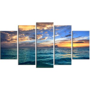 'Exotic Tropical Beach at Sunset' 5 Piece Photographic Print on Wrapped Canvas Set by Design Art