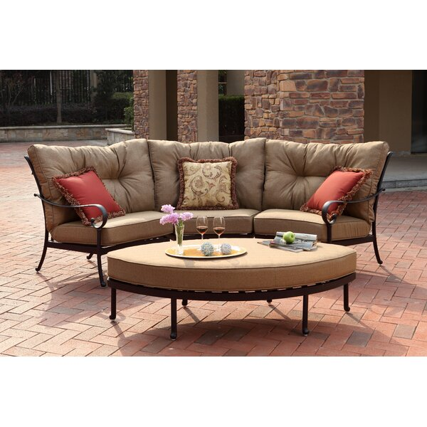 Lanesville 4 Piece Sectional Seating Group with Cushions by Darby Home Co
