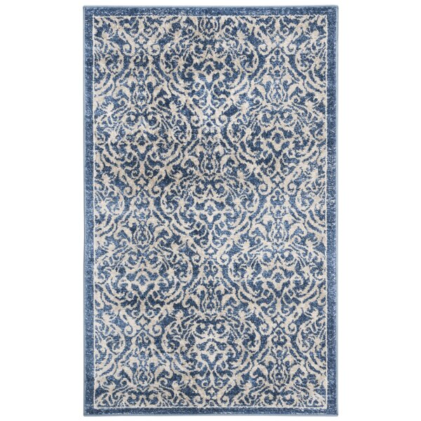 Lamartine Navy/Creme Area Rug by Ophelia & Co.