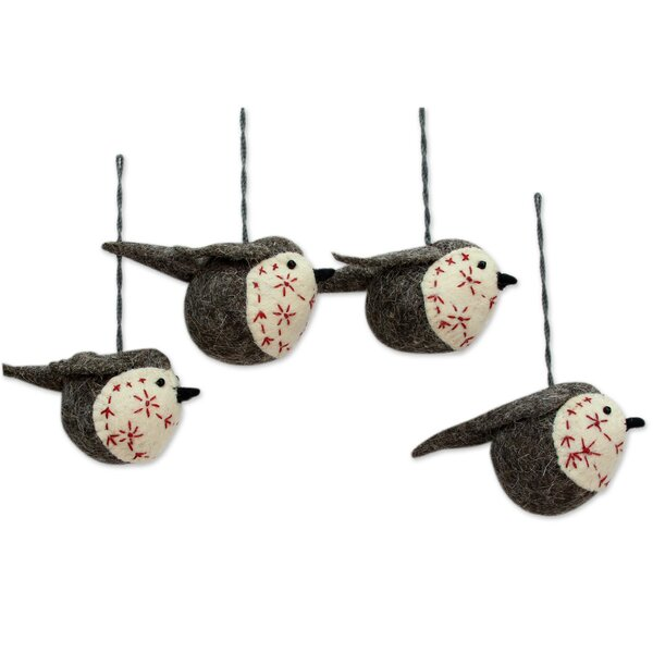 Chirpy Robin Ornament (Set of 4) by Novica