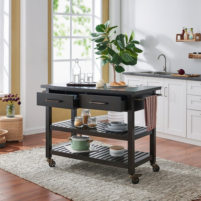 Ector Farmhouse Rolling Kitchen Island
