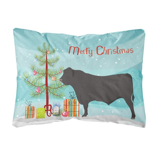 Northpoint Black Angus Cow Christmas Fabric Indoor/Outdoor Throw Pillow by The Holiday Aisle