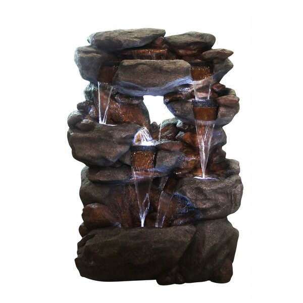 5 Tier Rock Fountain with LED Light by Alpine
