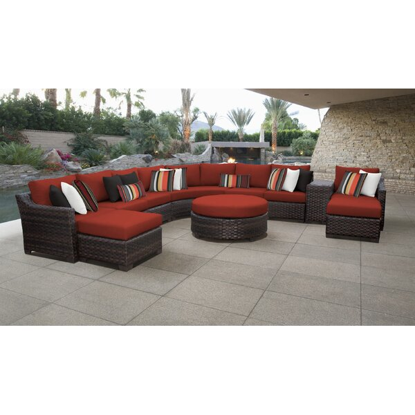 River Brook 11 Piece Rattan Sectional Seating Group with Cushions