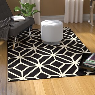 Reviews Pleione Polypropylene Black/White Area Rug By Wrought Studio