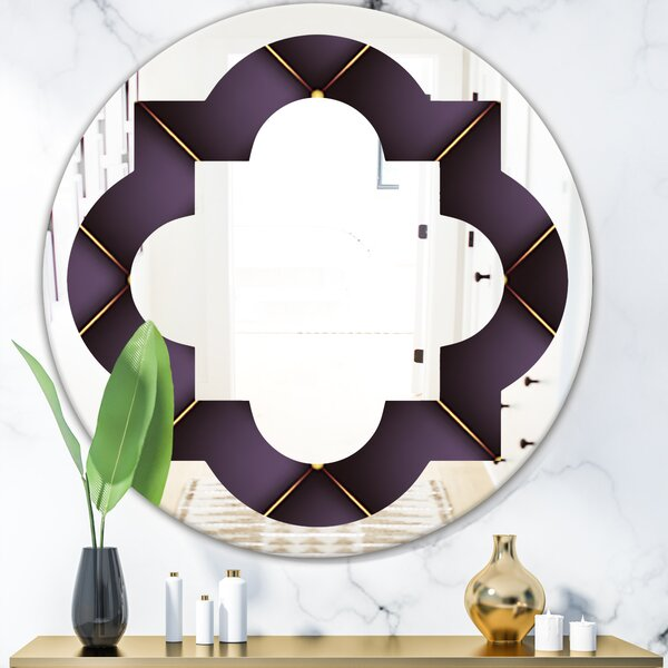 Quilted Pattern Quatrefoil EclecticFrameless Wall Mirror